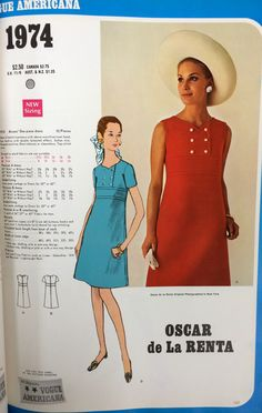 Oscar de la Renta sewing pattern for Vogue Patterns, c. 1960s.