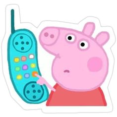 'Peppa Pig Hanging Up Sticker' Sticker by Blake Aboueljoud Peppa Pig Hanging Up Sticker Stickers by Blake Aboueljoud Stickers Cool, Preppy Stickers, Red Bubble Stickers, Meme Stickers, Tumblr Stickers, Phone Stickers, Cartoon Stickers, Wallpaper Stickers, Peppa Pig Stickers