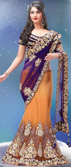 Purple and Light Orange Net Lehenga Style Saree with Blouse Lehenga Style Saree, Sari, Lehenga Saree, Anarkali, Blue Lehenga, Indian Dresses, Indian Outfits, Churidar, Salwar Kameez