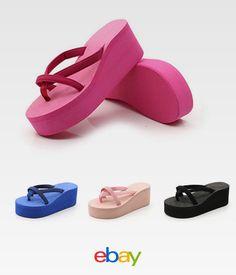 ac6c419a7 Flops Platform Thong Heel Fashion Flip Sandals 34-43 Wedge Womens Beach 2017