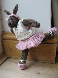 Bunny Rabbit Knitting Pattern pdf - Ballerina Bunny by Made By Ewe