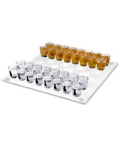 Who said chess isn't a party game? With the Hey! Shot Glass Chess and Checkers Set, losing your pawn means taking a shot in this fun, grown-up twist on the classic games. Each glass is painted with different chess pieces for easy set up. Chess Pieces, Game Pieces, Glass Chess Set, Adult Drinking Games, Bachelor Party Gifts, Bar Games, Shot Glasses, Checker Board, Game Night