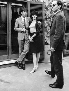 "Jean-Luc Godard, Michel Piccoli and Brigitte Bardot during filming the movie ""Le mépris""(1963)."