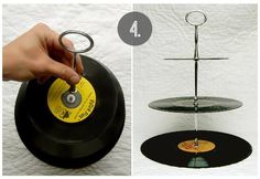 Have old records laying around? Turn them into a stylish dessert tray.