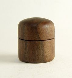 "Turned Wood Box in Walnut. 2"" Diameter by 2.25"" Tall"