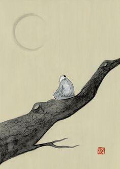 夜 #illustration #イラスト #動物 #絵 #和風 #猫