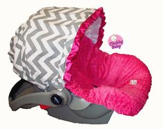 Infant Car Seat Cover, Baby Car Seat Cover in Grey Chevron