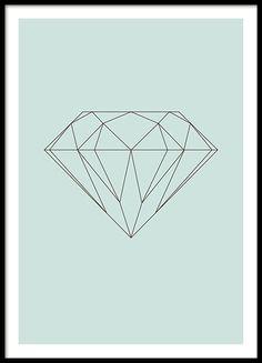 Grafische groene poster met diamant in een geometrisch design. Erg mooi en trendy en tevens verkrijgbaar in het roze. past goed in de kamers van kinderen en andere kinderen posters. www.desnio.nl