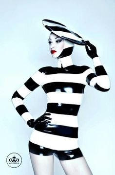 Latex. Black and white stripes.