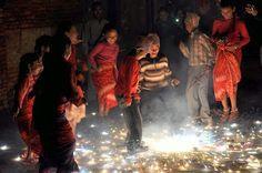 On Tihar, children enjoy fireworks  Patan, Nepal