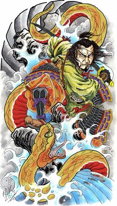 Samurai Tattoo Design - Done in on Wacom intous 4 Hours of work but happy with the final outcome Japanese Snake Tattoo, Japanese Tattoo Designs, Japanese Sleeve Tattoos, Japanese Dragon, Japanese Art, Samurai Tattoo, Samurai Art, Tattoo Oriental, Geniale Tattoos