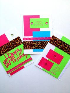 Handmade Neon Cheetah Print Happy Birthday by PrincessKCreations