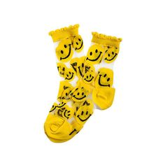 MKL Accessories Sock See Through Smile in Yellow ($9.95) ❤ liked on Polyvore featuring intimates, hosiery, socks, accessories, socks and tights, yellow socks, see through socks, sheer hosiery and sheer socks