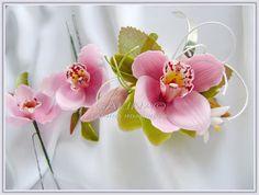 НЕУВЯДАЮЩИЕ ЦВЕТЫ: Свадебный комплект Розовые орхидеи- браслет, закол...