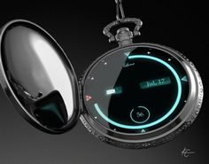 Digital Pocket Watch - seems like a bit much. Gadgets And Gizmos, Technology Gadgets, High Tech Gadgets, Digital Pocket Watch, Modern Pocket Watch, Digital Watch, Cool Watches, Watches For Men, Men's Watches