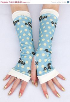 Soot Sprites Arm Warmers for Girls, Tweens, Totoro fingerless gloves Spirited Away polka dots