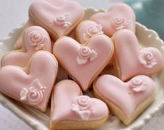 24 Pcs Rosebud Mini Heart Cookie Favor Wedding by MarinoldCakes