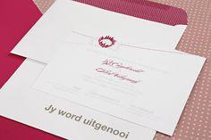 Chrystalace Wedding Stationery Pink Protea Invitation with maroon polka dots pattern.