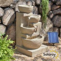 Solar Kendal Cascade Water Feature with Lights by Solaray™ Cascade Design, Cascade Water, Backyard Water Feature, Solar Water, Luz Led, Water Features, Solar Panels, Fountain, Planter Pots