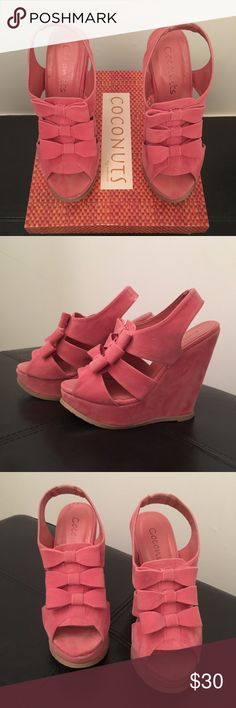 COCONUTS BOW WEDGES Coconuts Bow Wedges Salmon color size 7 super cute & comfy worn only once Coconuts Shoes Wedges