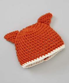 Orange Crocheted Fox Beanie