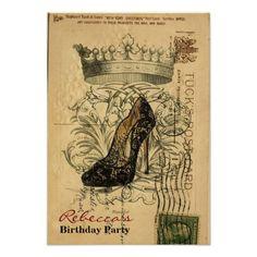 elegant paris stiletto vintage birthday party personalized announcement