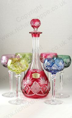VINTAGE GLASS: DRINK SETS; DECANTERS, GLASSES, BARWARE. c.1950s 60s VAL ST. LAMBERT BERNCASTEL HARLEQUIN DECANTER & SIX WINE HOCK GLASS SET, SIGNED. To visit my website click here: http://www.richardhoppe.co.uk or for help or information email us here: info@richardhoppe.co.uk