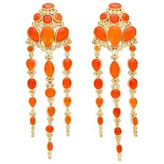 2007 Marilyn Cooperman Fire Opal and Diamond Gold Ear Clips 1 Long Diamond Earrings, 18k Gold Earrings, 18k Gold Jewelry, Dangle Earrings, Jewellery, Diamond Jewelry, Gold Set, Fire Opals, Bobs