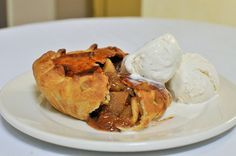 Fresh Baked Apple Pie with cheddar cheese top crust and vanilla ice cream