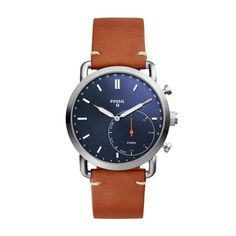 Looks like a watch, acts like a smartwatch. water resistant to stainless steel case with genuine brown leather band; interchangeable with all Fossil bands. Smartwatch, Festina, Brown Leather Strap Watch, Seiko, Swiss Army Watches, Fossil Watches, Watch Model, Michael Kors, Leather Luggage