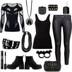 Dauntless Black by savannahs-outfits on Polyvore featuring polyvore fashion style McQ by Alexander McQueen Theory H&M Lipstik Christian Louboutin Valentino L'Artisan Créateur Relic Christian Dior Essie