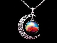 Beautiful New Galactic Universe Glass Cabochon Pendant Silver Half Moon Necklace #Unbranded #Pendant