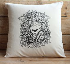 Sheep Cushion Cover by birdcardsandprints on Etsy