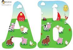 Alfabeto de la Granja. | Oh my Alfabetos! Farm Animal Party, Farm Animal Crafts, Farm Animal Birthday, Barnyard Party, Farm Birthday, Free Printable Banner Letters, Alfabeto Animal, Farm Unit, Barnyard Animals