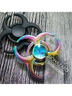 EDC Metal Fidget Spinner with Steel R188 Bearing - Biohazard (Iridescent, Black)