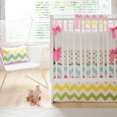 Zig Zag Baby Bedding in Rainbow, Chevron Baby Crib Bedding -- I REALLY like this!! Except I think I'd do the bumpers in the polka for fabric and have a plain colored (or white) sheet.
