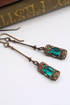 Stained Glass Window Dangles in Emerald - Czech Revival Vintage Glass Earrings.  via Etsy.