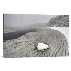 """East Urban Home 'Pleated Ice Along Lake Shore' Photographic Print on Canvas Size: 20"""" H x 30"""" W x 1.5"""" D"""