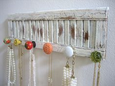 old shutters , maybe for coats! Instead of jewelry  | Accessories Rack on a Vintage Shutter by AuntDedesBasement on Etsy