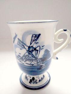 Delft Mug Blue Windmill Pedestal 1980s Holland. $10.00, via Etsy.