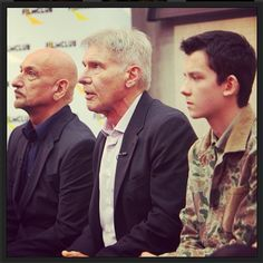 Harrison Ford, Sir Ben Kingsley and Asa Butterfield at Westminster Academy, where we announced our exclusive preview screening of Ender's Game! @asabopp @haileesteinfeld