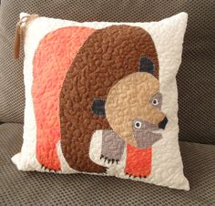 Brown Bear Brown Bear Quilted Pillow by sandrastudio on Etsy, $55.00