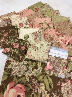 Roses and Chocolate II - beautiful, romantic roses, paisleys and floral prints in a perfectly feminine color palette. Shabby Chic Fabric, Shabby Fabrics, Quilt Material, Fabric Combinations, Textiles, Rag Quilt, Fabric Patterns, Fabric Crafts, Fabric Design