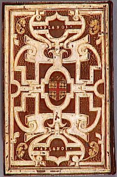 """Book P. Godefroy. . . Pierre Godefroy (? -1573). . . In the centre, the arms of Anne de Montmorency and the motto """"Aplanos"""""""