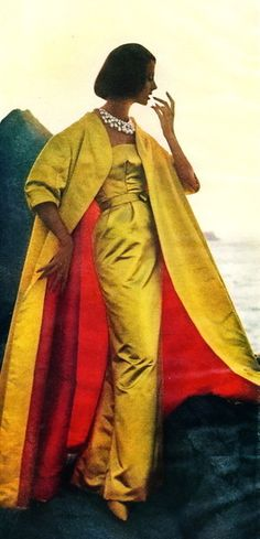 A lady in yellow satin and diamonds- 1950's