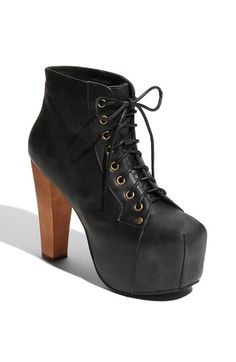 Free shipping and returns on Jeffrey Campbell 'Lita' Bootie (Women) at Nordstrom.com. Long laces secure a towering bootie distressed for edge and balanced on a covered platform and blocky heel.