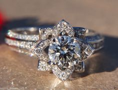 Holy Gorgeous!! 1.8Ct Brilliant Cut Engagement Ring & Matching Wedding Band 14K Solid White Gold