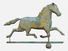 Very fine running horse copper weathervane 19th century.