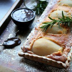 Pear, Rosemary & Almond Praline Tart with Chocolate & Amarula Sauce