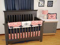 Coral Damask Print with a navy polka dot crib sheet and monograms
